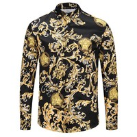 Boys & Men Versace Fashion Casual Long Sleeve Shirt