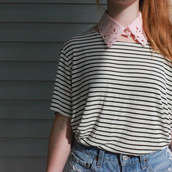 vintage 1980s Black and White Striped Cropped by vicethighvintage