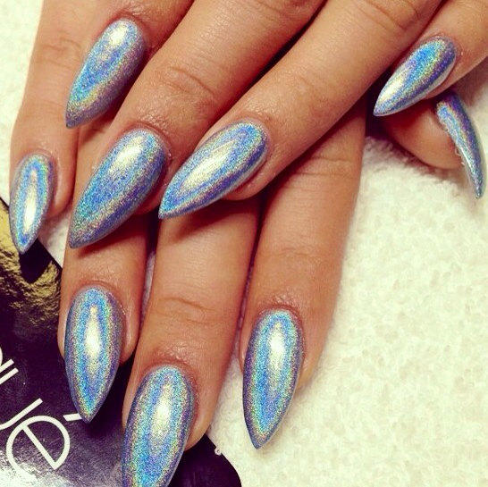 Holographic silver stiletto false nails from nidaboutiqueetsy on