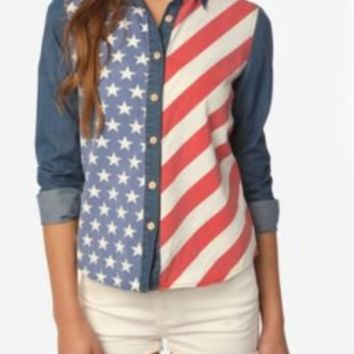 BDG American Flag Chambray Button-Down Shirt