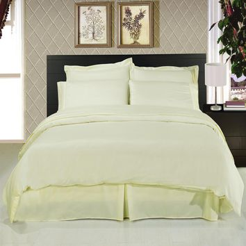 Solid Ivory 8-Piece Bedding Set Super Soft Microfiber Sheets+Duvet+Alternative