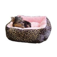 Anima Ultra Plush Pink Leopard Dog Bed