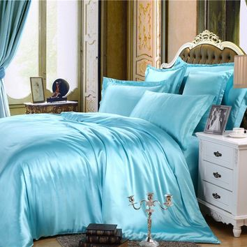 Home Textile Solid Silk Satin 4Pcs Queen/King Size Luxury Bedding Set Bedclothes Bed Linen Duvet Cover Set Bed Sheet Pillowcases