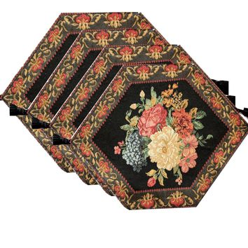 Tache 4 Piece Country Rustic Floral Midnight Awakening Table Runners, 13x17