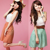 Hot!Orange Dot Bow-knot Women's Sexy Lace Sleeveless Summer Cocktail Party Dress