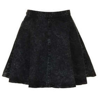 MOTO Black Acid Denim Skirt - Skirts  - Clothing