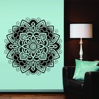 Wall Decal Vinyl Mural Sticker Art Decor Bedroom Dorm Kitchen Ceiling Mandala Menhdi Flower Pattern Ornament Om Indian Hindu Buddha (M1305)