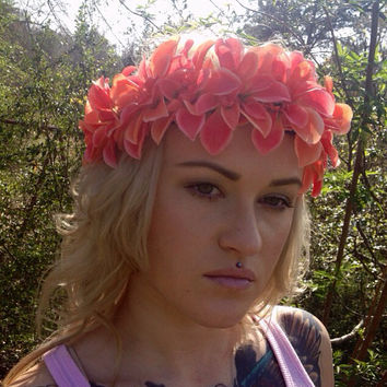 Coral Flower Crown, Spring Flower Crown, Floral Crown, Flower Headband, Festival Flower Crown, Hair Accessory, Spring Wedding