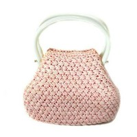 1960s Jordan Marsh Pink Straw Handbag / Raffia Purse / Mad Men / Plastic Handle Purse