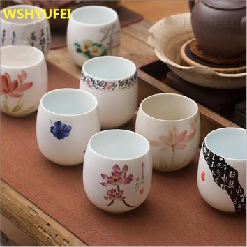 Jingdezhen Japanese Style Kung Fu Tea Cup Set Travel Chinese Porcelain Coffee cup Sets Ceramic Clay Tea Service Beer Cup 180ml