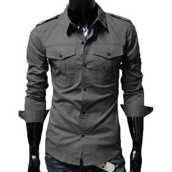 The Marshall Tailored Fit Shirt Grey