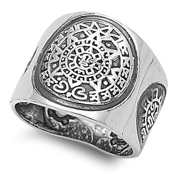 925 Sterling Silver Aztec Mayan Calendar Ring