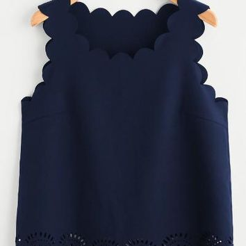 Scallop Edge Laser Cut Shell Navy Top