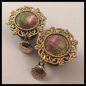 PICK SIZE Fancy Clam Mermaid  Golden Teardrop Gauge Dangle Plugs