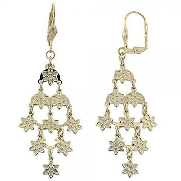 Gold Layered 02.63.2209 Chandelier Earring, Flower Design, Matte Finish, Golden Tone