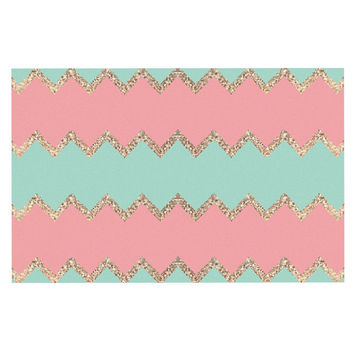 "Monika Strigel ""Avalon Soft Coral and Mint Chevron"" Orange Green Decorative Door Mat"