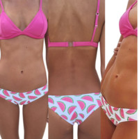 CUTE WATERMELON TWO PIECE ROSES PRINT TWO PIECE BIKINIS SWIMWEAR BATHSUIT
