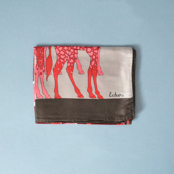 Vintage Echo Long Silk Scarf - 1960s Giraffes Design