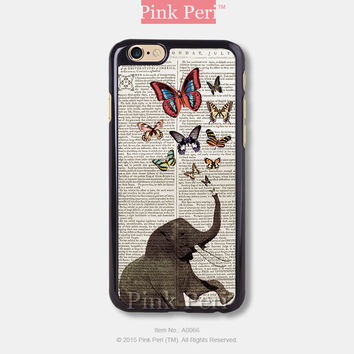 Elephant butterflies vintage iPhone Case Black Hard case 066