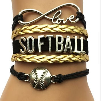 Softball Bracelet - Gold/Black