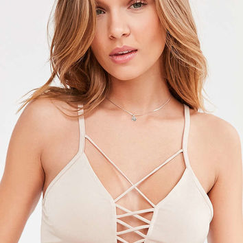 Silence + Noise Dagmar Plunging Criss-Cross Crop Top - Urban Outfitters