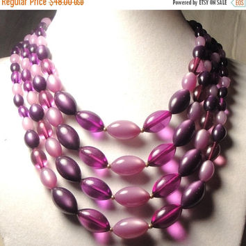 Cyber Monday Sale Vintage 50's Chunky Lucite Moonglow Beaded Bib Necklace Multi 4 Strand Retro Rockabilly Jewelry New Old Stock Martini Merm