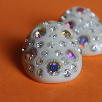 Vintage 1950's Weiss Domed Rhinestone Celluloid Clip-ons