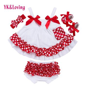Fashion Baby Girls Swing Top Set Polka Dot Swing Ruffled Outfits With Matching Bloomer Headband Sets Girl Clothing Infant X006