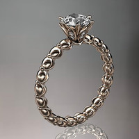 14k  rose gold diamond vine and leaf wedding ring,engagement ring