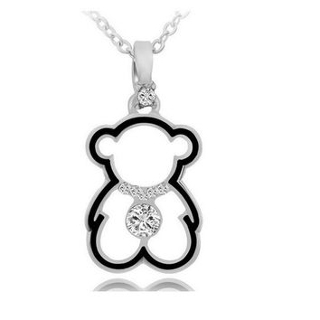 Fashion Crystal Hollow Bear Pendant Necklace