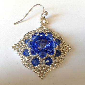 handmade beadwoven earrings of tanzanite Swarovski crystal and silver seed beads