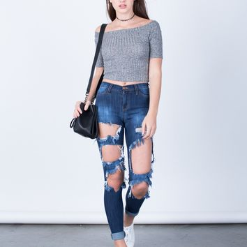 Shredded High Waisted Skinny Jeans