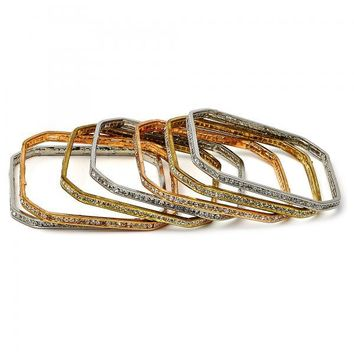 Gold Plated Semanario Bangle, with Cubic Zirconia, Tri Tone