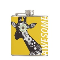 Funky Paisley Giraffe Personalized Drinking Flasks: Cute & Funny Wild Animal Design