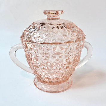 Holiday Pink Depression Glass Sugar Bowl, Buttons and Bows Sugar Bowl, Jeannette Glass Holiday Buttons and Bows Covered Sugar Bowl