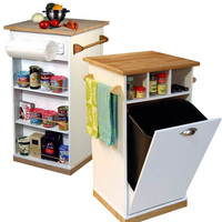"Kitchen Cart with Pantry (White/Natural) (18"" x 18"" x 35"" H)"