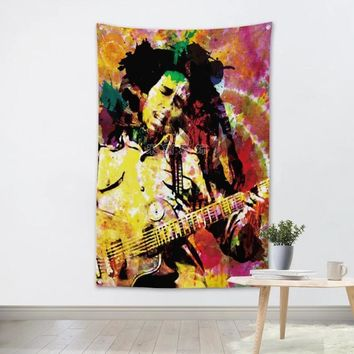 Bob Marley Reggae Large Rock Flag Banners Four-Hole Wall Hanging Painting Bedroom Studio Party Music Festival Background Decor