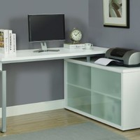 "Monarch Hollow-Core ""L"" Shaped Desk with Frosted Glass, White"