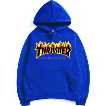 """""""THRASHER"""" Fashion print flame movement  hooded sweater Blue black flame (5 color)"""