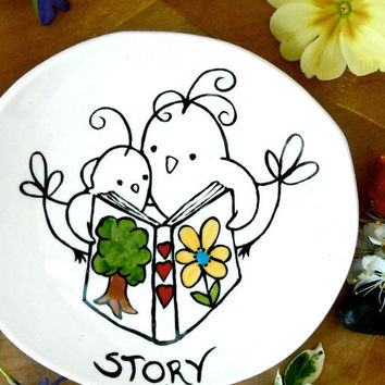 Birdie Dish - Birds Reading a STORY Book - HandMade & Painted Jewelry, Ring, Trinket Holder - Mom, Librarian, Elementary School Teacher Gift