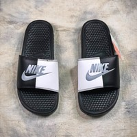 Nike Benassi Swoosh Beach Slippers Black White Grey Sandals - Best Online Sale