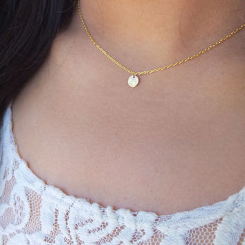 Tiny Dainty Gold Hammered Disc Necklace