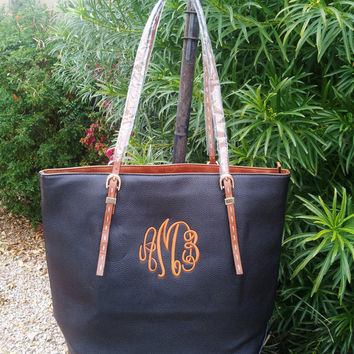 Monogrammed Faux Leather Black Cognac Handbag - Monogram Shopper Tote - Personalized Purse - Handbag Belted Detail