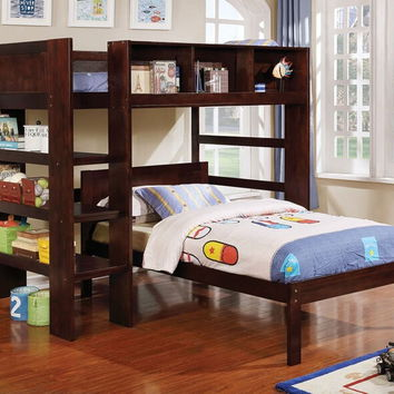 Annemarie collection espresso finish wood twin loft bed set with bookcase shelves