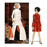 60s VOGUE COATDRESS PATTERN Coat Dress Fit & Flare Pants Tunic Forquet Designer Vogue 2234 Couturier Womens Sewing Patterns Bust 34 Size 12
