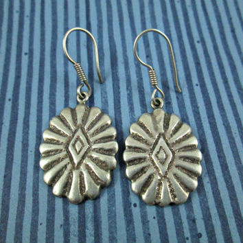 COUPON CODE SALE Vintage Southwest Style Sterling Silver Hand Crafted Earrings Native American Signed Etchings Shepherds Hook Wires