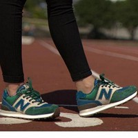 QIYIF new balance leisure shoes running shoes men s shoes for women s shoes couples n word green blue beige