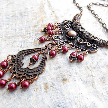 Winter Statement necklace Maroon copper Bohemian necklace Statement jewelry