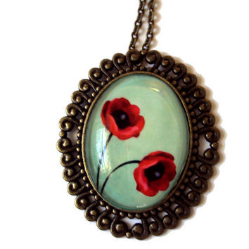 Two Of A Kind Poppies in Vintage Style Brass Pendant