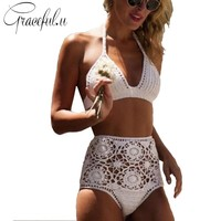 Sexy High Waist Swimwear Knitted Crop Top Handmade Crochet Bikini Swimsuit 2017 Beach Bathing Suit Women maillot de bain